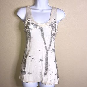 Miss Me tank top, cool design with beaded detail